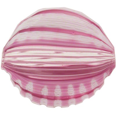 Murano Glass Bead Pink/Rubino Blown Chevron Penny 30mm