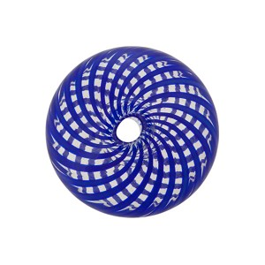 Murano Glass Bead Blown Cipollina, Mini Cobalt and Clear Spiral