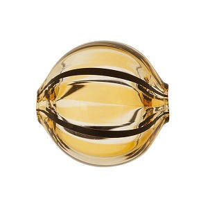 Topaz, Amber Venetian Glass Bead Blown 20mm Straight Stripes, Round