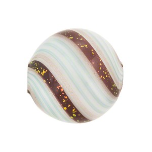 Murano Glass Bead Blown Disc 20mm Aqua and Black Coral Dichroic Spiral