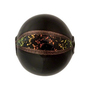 Murano Glass Blown Round 20mm Black & Black Coral Dichroic
