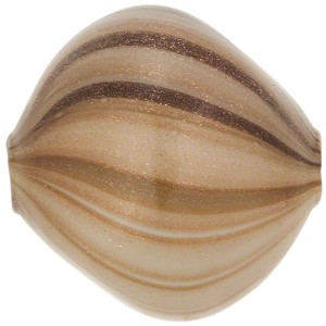 Murano Glass Blown Windows Pebble 30mm, Taupe