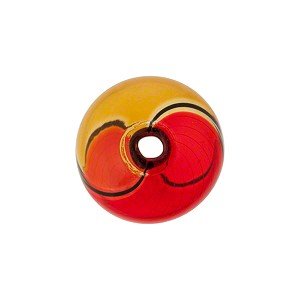 Mini Blown Murano Glass Cippolina Bead, Topaz & Red, 15mm