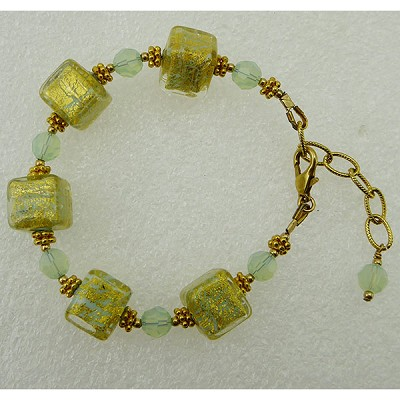 Ca'd'oro Aqua Cube Murano Glass Bracelet 6 1/2 Inches with 2 Inch Extension