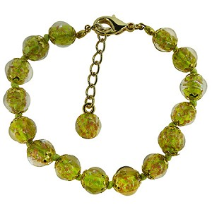 Transparent Peridot Green Murano Glass Bead Bracelet 7.5 Inch  w/Bead  1 1/4 Inch Extender