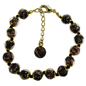 Black Murano Glass Bead Bracelet 7.5 Inch  with 1 1/4 Inch Extender, Gold Tone Clasp