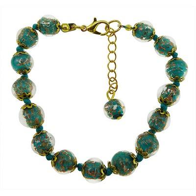 Green  Aqua Murano Glass Bead Bracelet 7.5 Inch  with 1 1/4 Inch Extender, Gold Tone Clasp Authentic Murano Glass Beaded