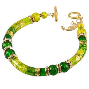 Green Shades Curved Tube Murano Glass Beaded Bracelet 7 1/4 Inch
