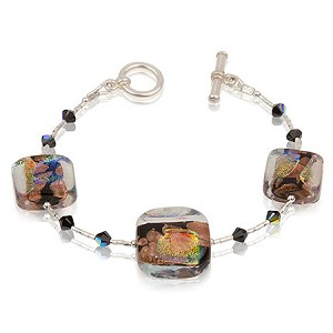 Black Dichroic Sparkles Murano Glass Beads Bracelet 7 Inch with Extender