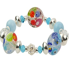 Transparent Multi Flowers Murano Glass Beads Stretchy Millefiore Bracelet