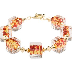 ZigZag Red and Gold Murano Glass Bead Bracelet, Gold Fill Elements 7.5 Inches
