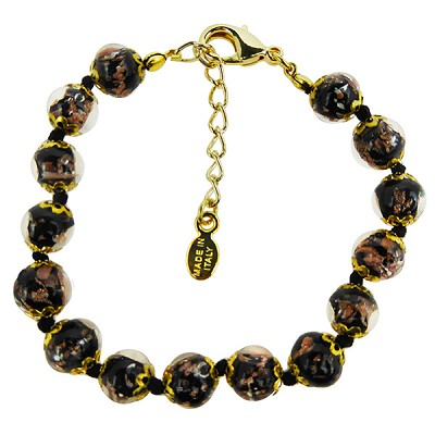Black and Aventurina Authentic Murano Glass Beaded Bracelet 7 1/2 Inches with 1 1/4 Inch Extender, Gold Tone Clasp and Murano Tag