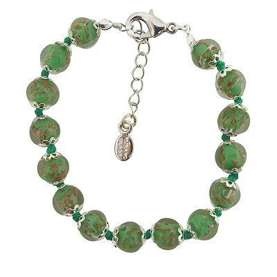 Green and Aventurina Authentic Murano Glass Beaded Bracelet 7 1/2 Inches with 1 1/4 Inch Extender, Silver Tone Clasp and Murano Tag