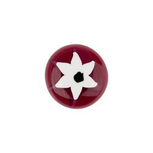 Murano Glass Millefiori Cabochon 14mm Ruby White Star