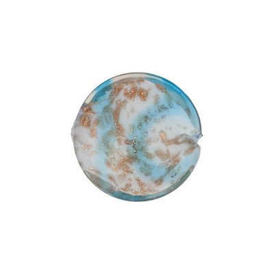 Venetian Bead Caramella Disc 16mm Aqua Swirls and Aventurina