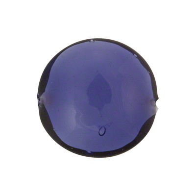 Blu Inchiostro, Plum Purple, over White Core Murano Glass Bead, 18mm Disc