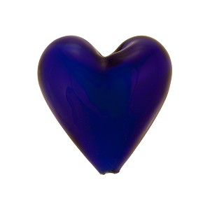 Cobalt Blue over White Core Murano Glass Bead, 20mm Heart