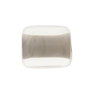 Incalmo Rectangle 16mm Grey, Murano Glass Bead