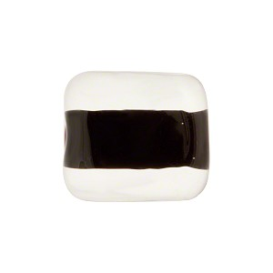 Incalmo Rectangle 16mm Opaque Black, Murano Glass Bead