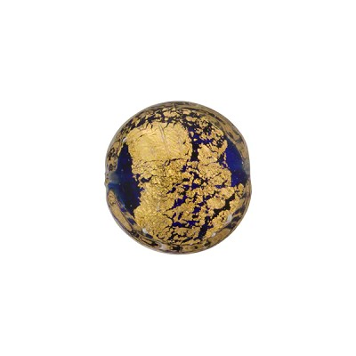 Cobalt Blue 24kt Gold Foil Ca'd'Oro Murano Glass Lentil Bead, 14mm