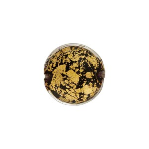 Black 24kt Gold Foil Ca'd'Oro Murano Glass Lentil Bead, 14mm