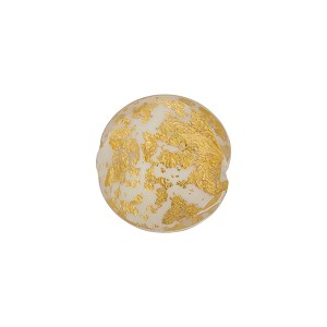 White and 24kt Gold Foil Ca'd'Oro Murano Glass Lentil Bead, 14mm