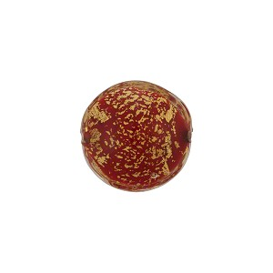 Opaque Red 24kt Gold Foil Ca'd'Oro Murano Glass Disc Bead, 14mm