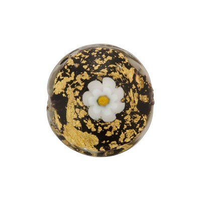 Ca'd'Oro Murano Glass Disc, Black & Gold Foil w/Millefiori, 16mm