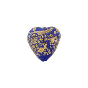 Lapis Ca'd'Oro Opaque Gold Heart 12mm Murano Glass Bead