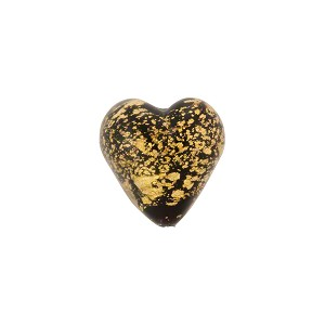 Black Ca'd'Oro Opaque Gold Heart 12mm Murano Glass Bead