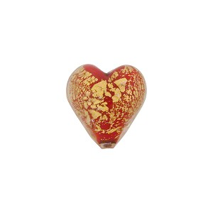 Red Opaque Ca'd'Oro Gold Heart 12mm Murano Glass Bead