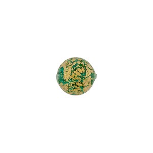 Murano Glass Ca'd'Oro 8mm Round Bead, Sea Green and Gold