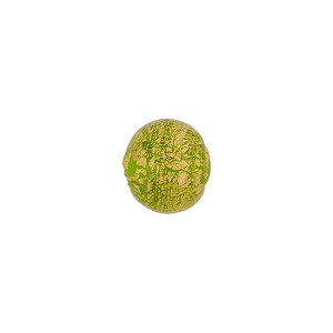 Murano Glass Ca'd'Oro 8mm Round Bead, Green and Gold