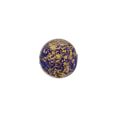 Ca'd'Oro Round Bead, 10mm, Cobalt Blue & Gold, Murano Glass Bead