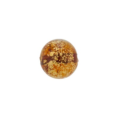 Ca'd'Oro Round Bead, 10mm, Topaz,Gold, Murano Glass Bead