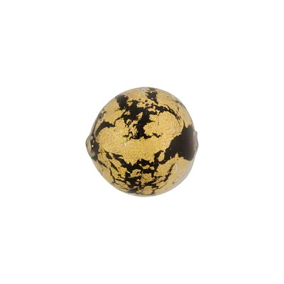 Black and 24kt Gold Foil Ca'd'Oro Round 12mm, Murano Glass Bead