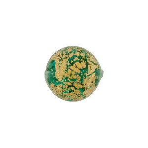 Green/Aqua Gold Foil Ca'd'Oro Round 12mm, Murano Glass Bead