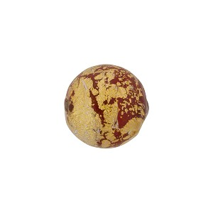 Opaque Red and 24kt Gold Foil Ca'd'Oro Round 12mm, Murano Glass Bead