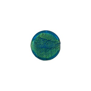 Murano Glass Gold Foil Flat Disc, 10mm, Aqua