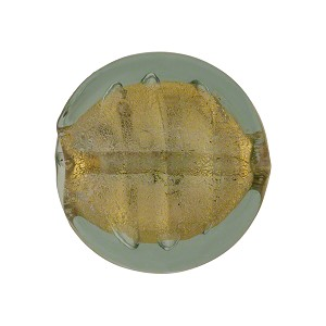 Olivine Gold Foil Murano Glass Coin 19mm