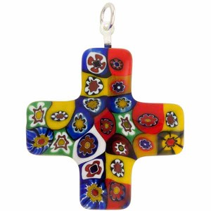 Venetian Glass Greek Cross 30x30 Pendant Multi Bright