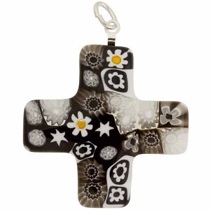 Venetian Glass Greek Cross 30x30 Pendant Black White