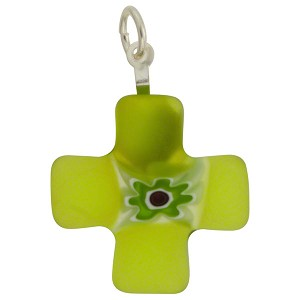 Millefiori Greek Cross Transparent 21mm Peridot