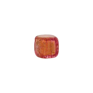 Rubino Gold Foil Cube 8mm Murano Glass Bead