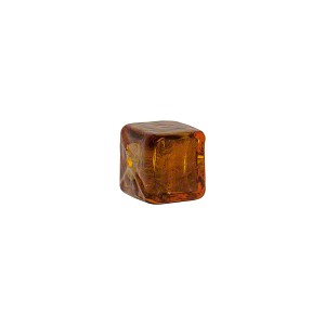 Murano Glass Cube Bead, 8mm, Topaz over Silver Foil