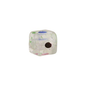 Murano Glass 10mm Cube with Multi Dots Clear Silver Foil