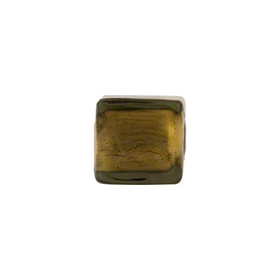 Olivine 24kt Gold Foil Cube 10mm Murano Glass