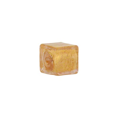 Pink 24kt Gold Foil Cube 10mm Murano Glass