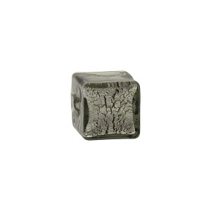 Steel Silver Foil Cube 10mm, Murano Glass Bead