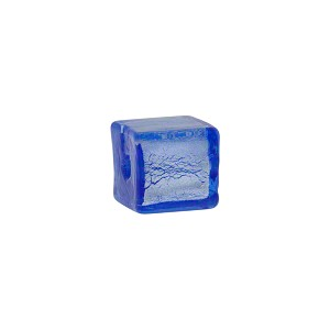 Blue Silver Foil Cube 10mm, Murano Glass Bead